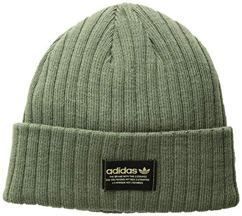 adidas Mens Originals Rib Beanie, Base Green/Black/Gold, One Size