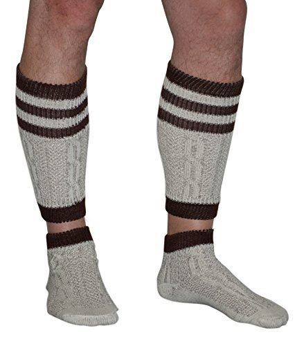 2 Piece Long Embroidered German Lederhosen Cotton Socks Cream / Brown (Large)