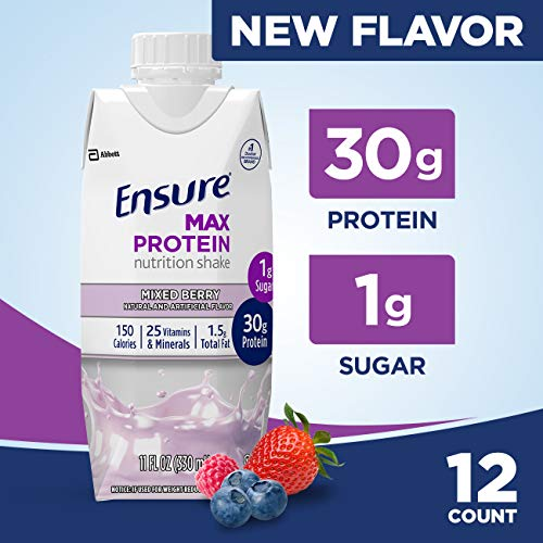 - Ensure Max Protein Nutritional Shake with 30g of High-Quality Protein, 1g of Sugar, High Protein Shake, Mixed Berry, 11 fl oz, 12 Count