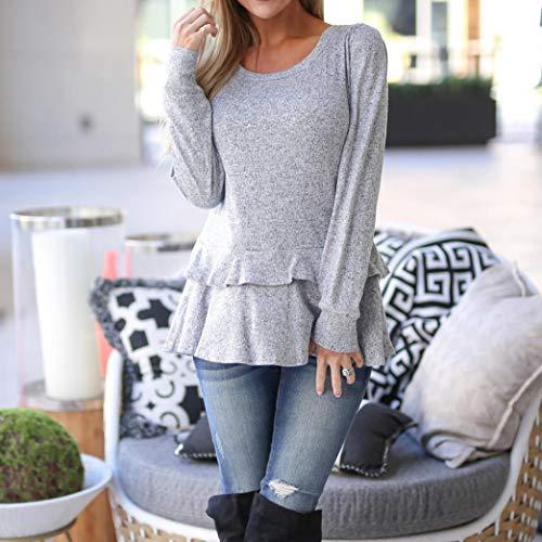 shirt Sweatshirt Uni T Volant Chemise Chemisier Femme Automne Qinmm Tops Gris qEwfq