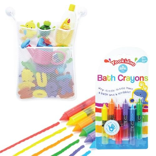 Eutuxia Baby Bath Combo. Bathtub Crayons + Toy Organizer. Includes Mesh Net Bag, 4 Lock Tight Suction Hooks, and 6 Colorful Crayon Set. Fun Entertainment for Kids, Toddlers, and Children. BPA Free. (Corner Basket Combo)