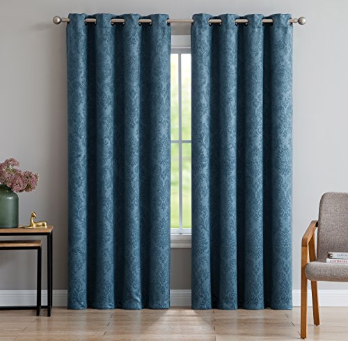 Evelyn - Embossed Thermal Weaved Blackout Curtain With 8 Grommets - Room Darkening & Noise Reduction Fabric - Blocks up to 97% of Sunlight - Premium Draperies (1 panel 54