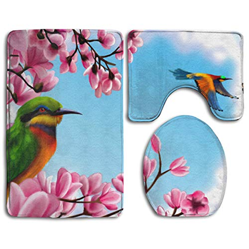 Colorful Birds Bathroom Rug Sets 3 Piece Non-Slip Floor Mat Contour Rug Toilet Lip Cover]()