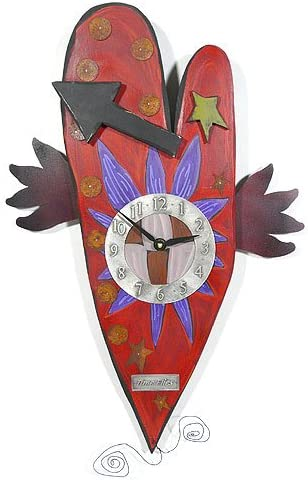 Modern Artisans Time Flies Folk Art Heart Wall Clock