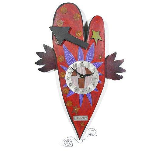 Wall Clock Time Flies - Modern Artisans 'Time Flies' Folk Art Heart Wall Clock, American Made Carved Wood & Pewter, 25
