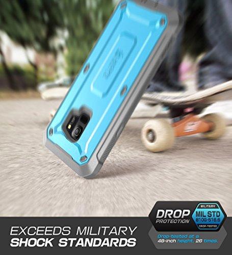 Funda Samsung Galaxy S9, SUPCASE estuche resistente de envoltura completa con protector de pantalla incorporado para Galaxy S9 (versión 2018), Serie Unicorn Beetle PRO - Paquete comercial (Negro) Azul