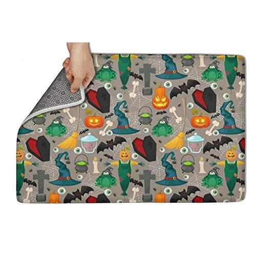 (Koldd Halloween Pumpkin Carving Wizard bat Gray Outdoor Door Mats 23.5x15.5 No Lint Door Mats Non-Slip Household)