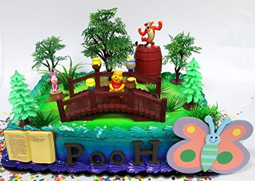 Winnie the Pooh 100 Acre Woods Birthday Cake Topper Set Featuring Figures and Decorative - Bear Birthday Pooh Cake
