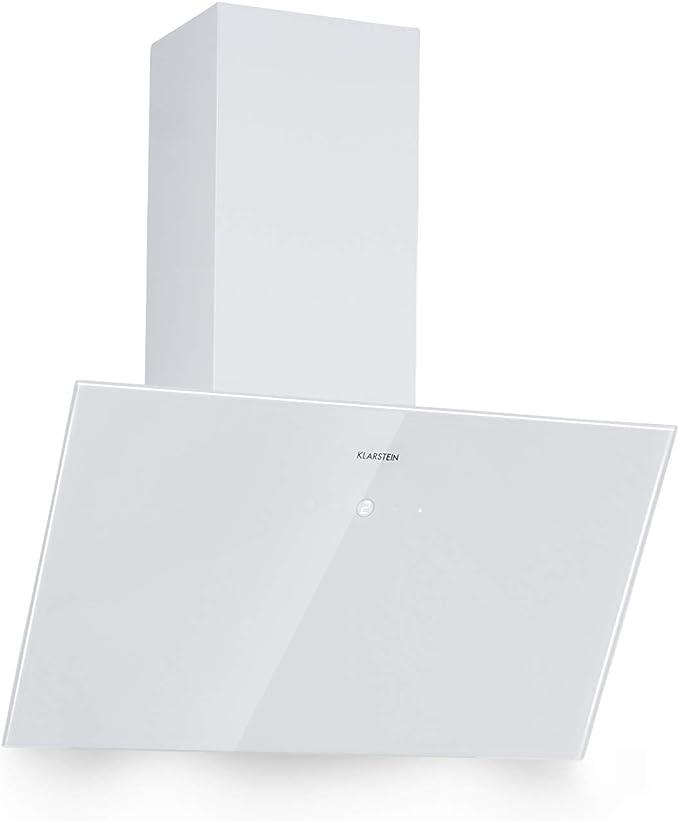 Klarstein Laurel 60 Campana extractora de pared - Extractor de humos, 3 niveles de extracción, 350 m³/h, 64 dB, 60 cm, Pantalla táctil LED, Filtro de grasa de aluminio, Blanco: Amazon.es: Hogar