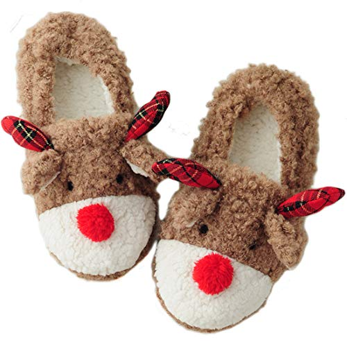 Snowdeer Women's Cute Fuzzy Reindeer House Slippers Stuffed Animal Bedroom Slippers Cozy Reindeer Indoor Shoes (Khaki 39)