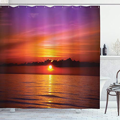 Ambesonne Ocean Shower Curtain, Romantic Sunset on The Beach Sun Rays Reflection on the Sea Colorful Sky Picture, Cloth Fabric Bathroom Decor Set with Hooks, 70 Inches, Orange Purple (Curtains Purple And Orange)