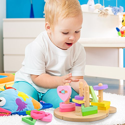Peradix Wooden Puzzle Toddler Educational Toys Shapes Sorter Sorting Stacking Baby Toys Preschool Geometric Blocks Stacking Games Kids by Peradix (Image #1)