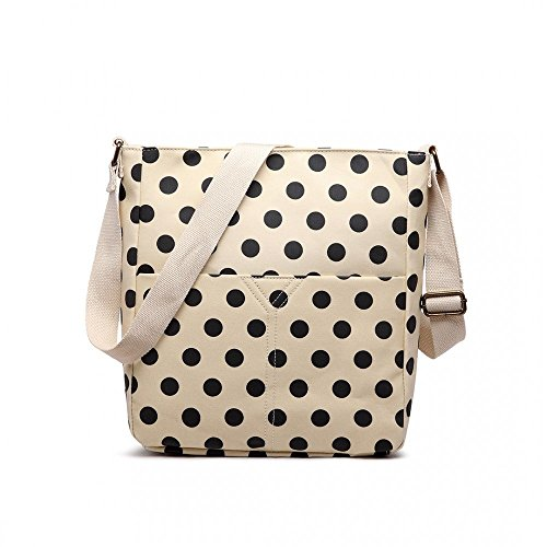 Cream and Black Medium Spotty Polka Dot Matte Oilcloth Cross Body Messenger Bag Handbag