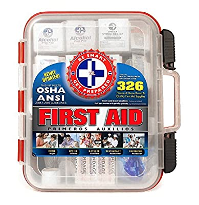 Tactical First Aid Kit: First Aid Kit Hard Red Case 326 Pieces Exceeds OSHA and ANSI Guidelines 100 People - Office, Home, Car, School, Emergency, Survival, Camping, Hunting, and Sports from BIAF