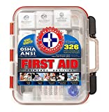First Aid Kit Hard Red Case 326 Pieces Exceeds OSHA and ANSI Guidelines 100 People - Office, Home,...