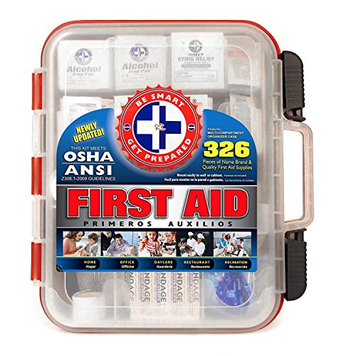 First Aid Kit Hard Red Case 326 Pieces Exceeds OSHA and ANSI Guidelines 100 People - Office, Home, Car, School, Emergency, Survival, Camping, Hunting, and - Wall Supply Sports
