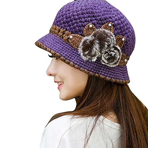 TOTOD Ears Hat Fashion Women Lady Winter Warm Crochet Knitted Flowers Decorated Caps (One Size, Purple) -