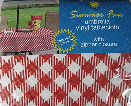 (Summer Fun Red and White Diamond Check Flannel Back Vinyl Umbrella Tablecloths with Hole and Zipper-assorted Sizes (70 Round))