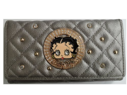 Betty Boop Long Wallet - Trifold Checkbook Wallet - KFW905 - Pewter Color