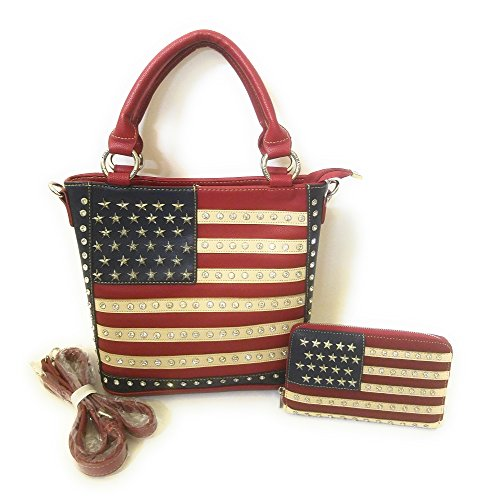 Montana West Jp USA American Flag Concealed Carry Messenger Bag Purse Wallet Red Blue