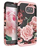 RabeMall Samsung Galaxy S7 Case Unique Pretty Flowers for Girls/Women Anti-Fingerprint Three Layer High Impact Resistant Hybrid Shockproof Protective Cover,Floral Rose Gold