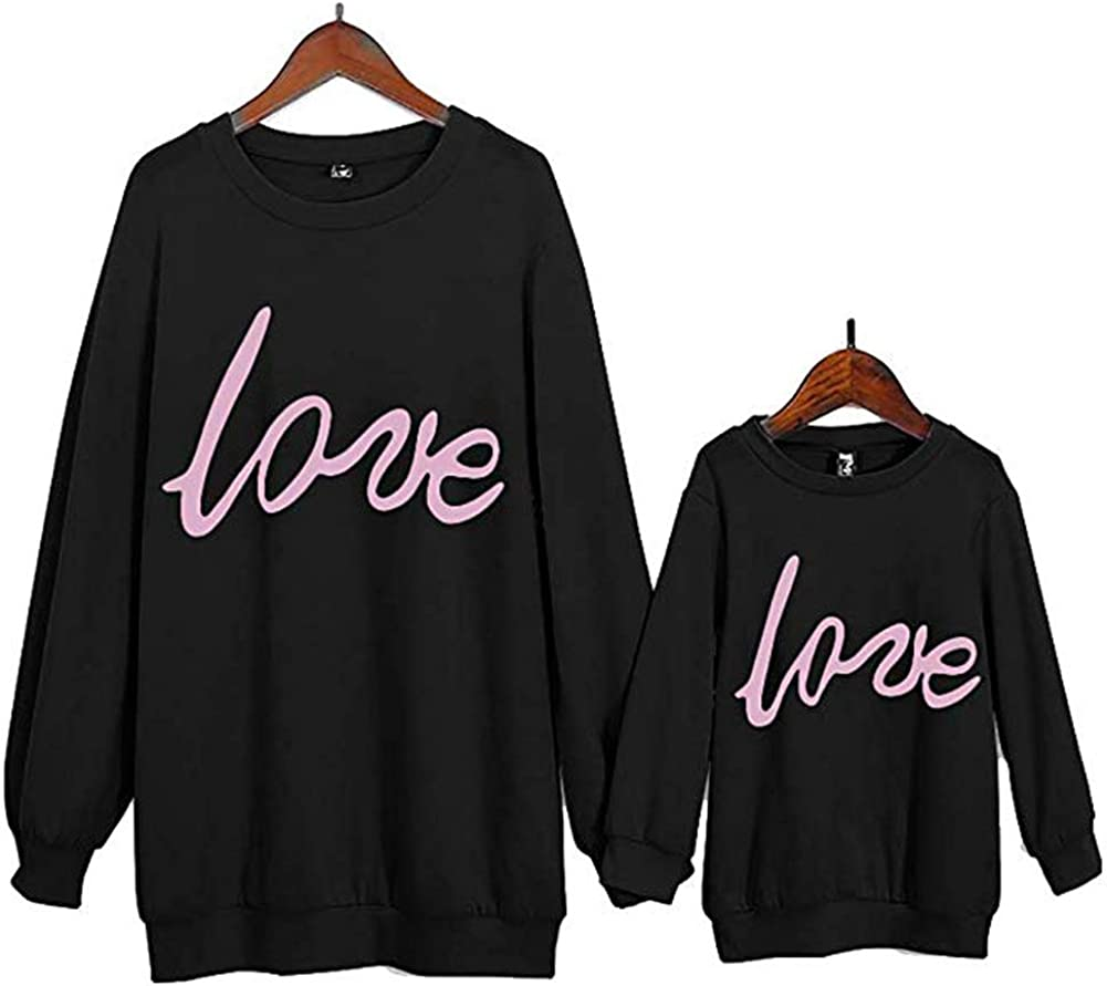 Family Clothing Mother Kids Pink Love Printed Sweatshirts Tops Long Sleeves Spring Autumn Pullover