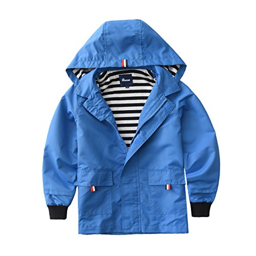 Hiheart Boys Waterproof Hooded Jackets Cotton Lined Rain Jackets Blue (Boys Hooded Fleece Jacket)