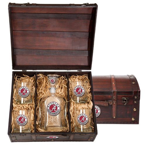 Alabama Crimson Tide Capitol Decanter Wood Chest Set by Heritage Metalworks