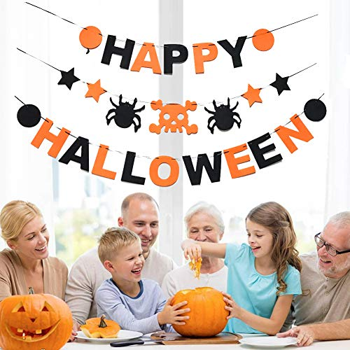 Happy Halloween Banner Set with Skull Spider Halloween Bunting Garland Decorations Prop Indoor House Decor Kids Party Supplies