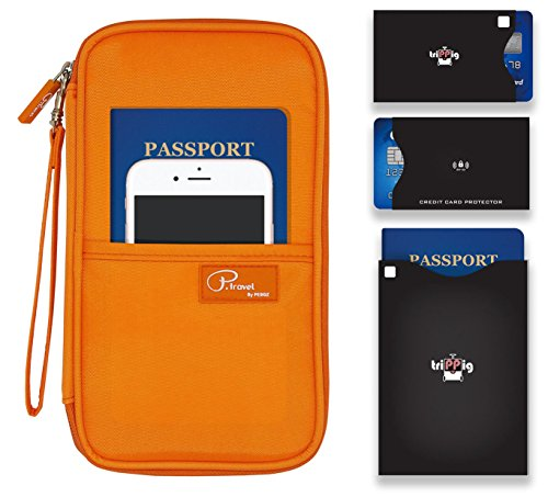 P.travel Passport wallet Oxford Orange with RFID Stop by P.travel