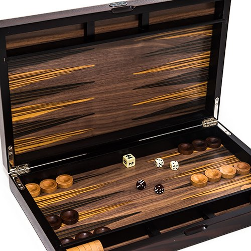 SoHo Deluxe Walnut/Ebony Backgammon Set 15