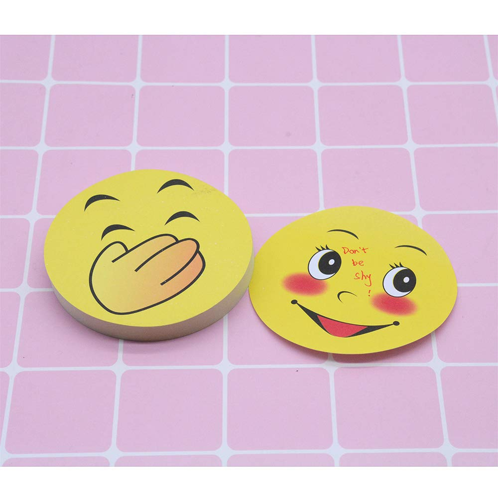 100 Sheets Per Pads 10 Pads Emoji Sticky Notes Cute Smile Face Self-Stick Removable Note Pads 10 Pack