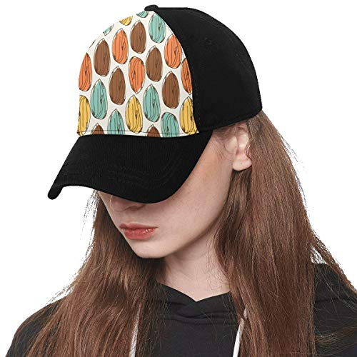Front Panel Custom Almond Dried Fruit Casual Snack Ideas Printing Baseball Hat Adjustable Size Curved Dad Cap Suit for Hip-hop Sports Summer Beach Outdoor Activities Unisex