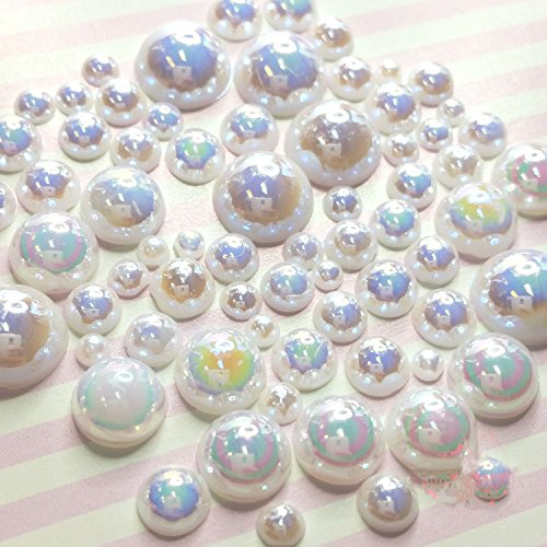 200 pcs 2mm -10mm White resin faux round Shiny Pearls Flatback Mix Size Cabochonship with FREE GIFT from GreatDeal68