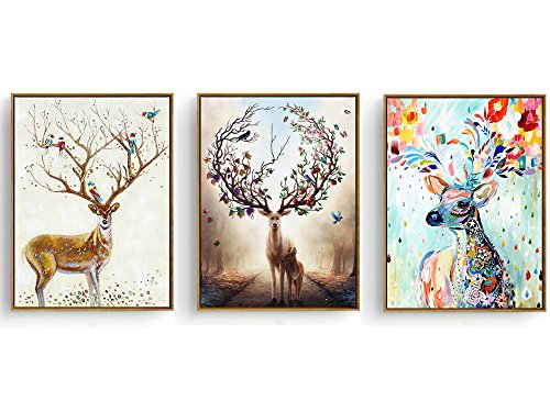 Hepix 3 Panel Canvas Wall Art Decor Adorable Deers Prints Wood Framed Strached Wall Artwork for Home Decoration Modern Home Decor Ready to Hang 13 by 17 inch 3PCS