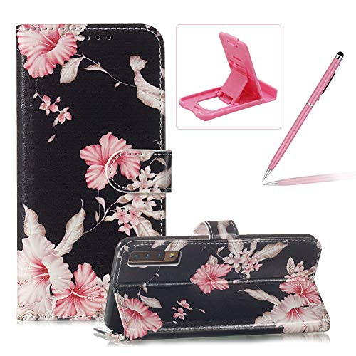 (Wallet Case for Galaxy A7 2018,Flip Leather Cover for Galaxy A7 2018,Herzzer Stylish Elegant [Azalea Pattern] Premium Magnetic PU Leather Stand Card Holder Slots Case with Inner Soft TPU)