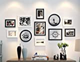 ZYANZ Modern Fashion Free Combination Of Photo Frames, Black And White Wood Stitching Photo Wall (11 Packs)