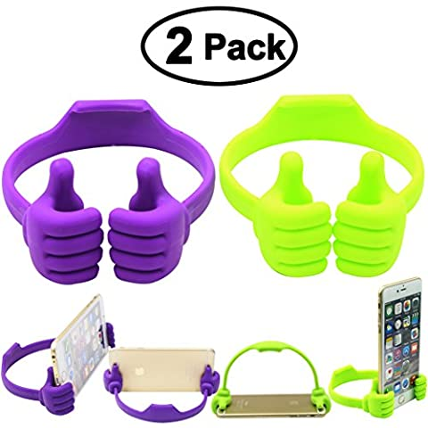 Honsky Thumbs-up Phone Stand for Tablets, E-readers and Smart Phones - 2 Pack - Green, Purple (Cell Phone Accessories)