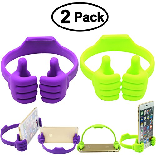 Honsky Thumbs-up Phone Stand for Tablets, E-readers and Smart Phones – 2 Pack – Green, Purple