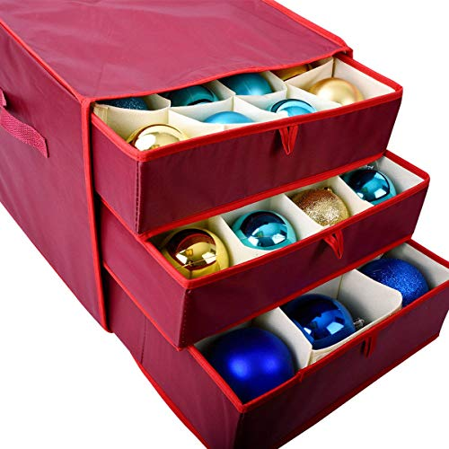Vencer Red Christmas 41 Ornament Storage(9 Compartments for Big Ornament,32 Compartments for Standard Ornament),VHO-003 (Ornament Fabric Christmas)