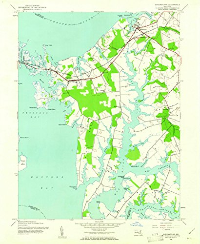 Maryland Maps   1942 Queenstown, MD USGS Historical Topographic - Md Queenstown