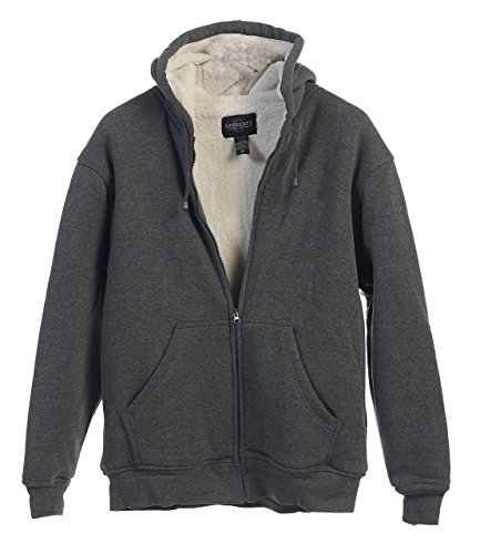 Gioberti Mens Sherpa Lined Pull Zip Fleece Hoodie Jacket, Charcoal, X Large