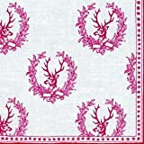 IHR Deer Stag de chasse red luxury traditional english paper napkins 20 new
