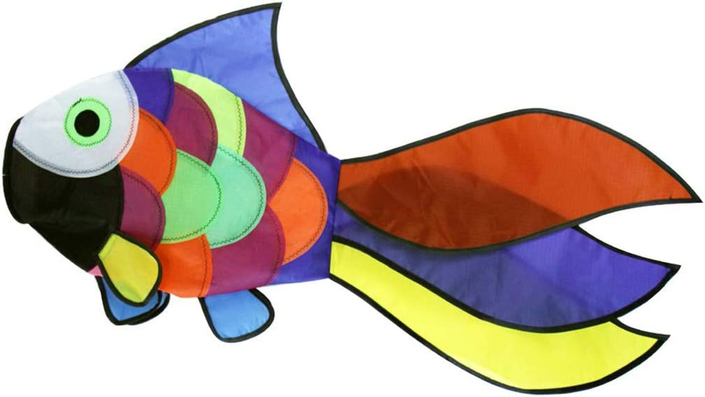 9KM DWLIFE 32 in Rainbow Fishing Windsock Spinner Garden Decoration