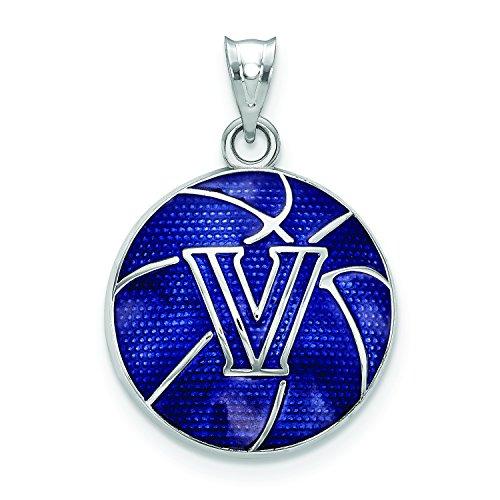 LogoArt Sterling Silver Villanova University Enameled Basketball Pendant SS509VIL