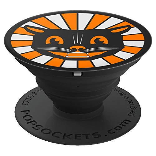 Cute Vintage Style Spooky Black Cat Retro Halloween 50s - PopSockets Grip and Stand for Phones and Tablets -