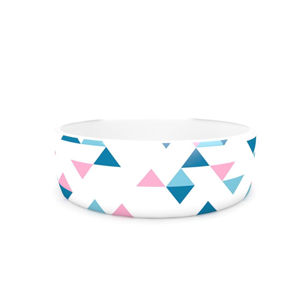 Kess InHouse Project M Triangles Pink  Pet Bowl, 7-Inch, bluesh bluee