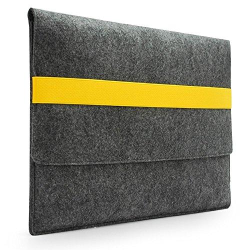 Lavievert Handmade Gray Felt Case Bag Sleeve with Yellow Elastic Band for Apple 13