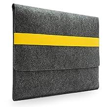 "Lavievert Handmade Gray Felt Case Bag Sleeve with Yellow Elastic Band for Apple 13"" MacBook Air / 13"" MacBook Pro / 13"" MacBook Pro with Retina"