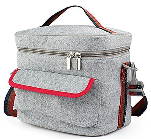 Felt Mali - FUNJIA- Double-Decked Insulation Lunch Bag With Felt + Foil, Zip Closure, For Women, Men, Adults, Kids, Girls, and Teen Girls, 7.6 Inch High 8.8 Inch Wide ,(Gray)